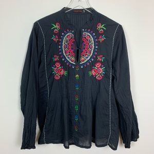 Johnny Was | Navy Long Sleeve Floral Blouse
